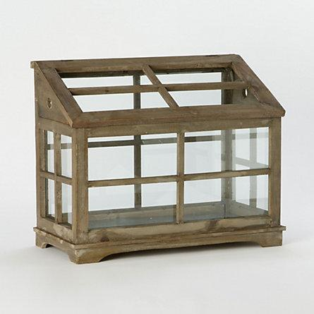 Orchid House Terrarium - Terrain - Wood Base Glass Terrarium With Wooden Stopper - Products