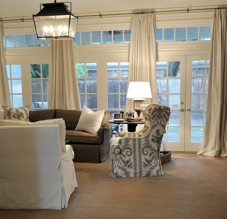 French doors and transom windows transitional living for Living room 4 doors