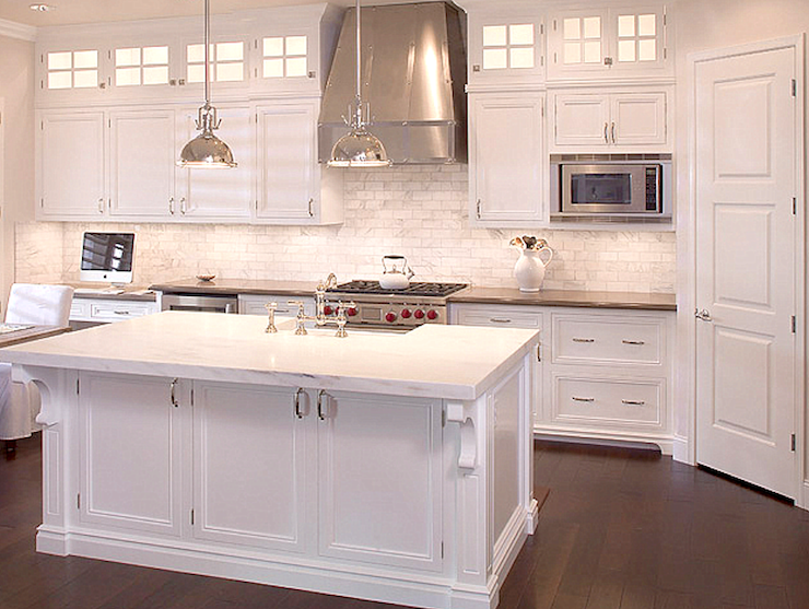 White shaker cabinets transitional kitchen cote de texas for Shaker style kitchen hoods