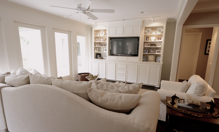 Tv built ins transitional living room cote de texas for Built ins living room ideas