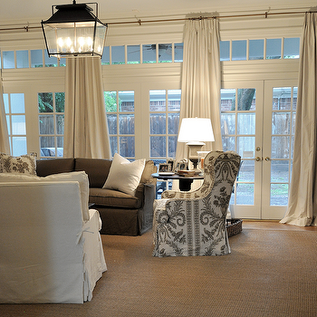 French Doors and Transom Windows, Transitional, living room, Cote de Texas