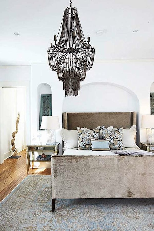 Wingback Upholstered Headboard Transitional Bedroom