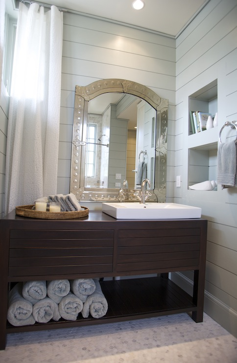 Modern Washstand Cottage Bathroom Tracery Interiors