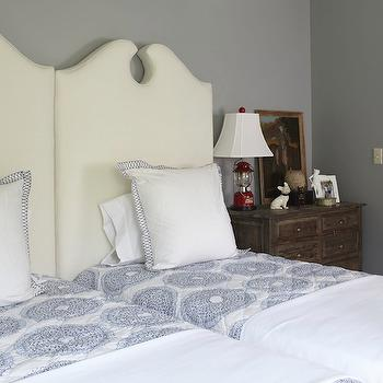 Twin Headboards, Cottage, boy's room, Benjamin Moore Amherst Gray, Tracery Interiors