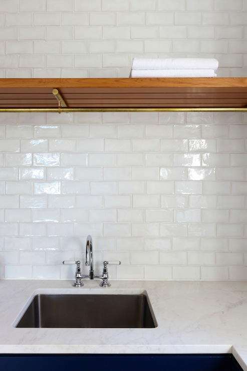 White Glass Tile Backsplash Contemporary