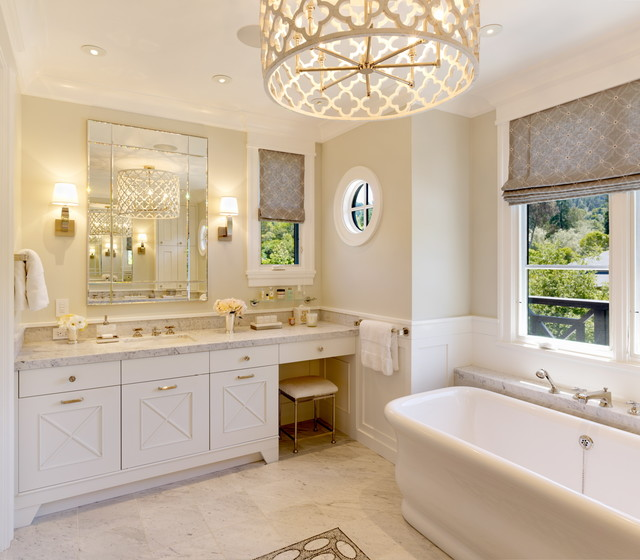 Magnificent Bathroom With Brass Quatrefoil Chandelier And Freestanding Tub