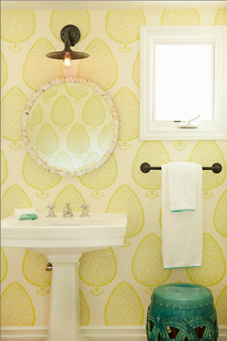 Katie ridder leaf wallpaper contemporary bathroom for Yellow and green bathroom ideas