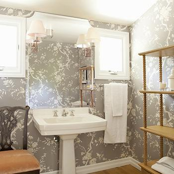 Gray Wallpaper, French, bathroom, Bonesteel Trout Hall