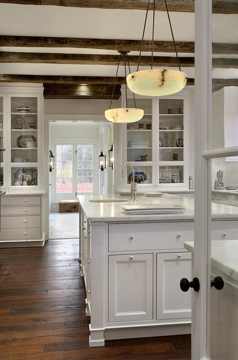 Rustic wood beams cottage kitchen donald lococo for Rustic white kitchen cabinets