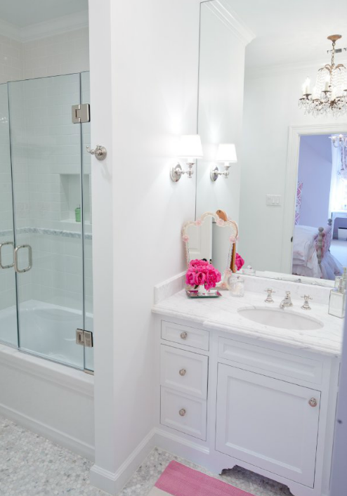 Girl S Bathroom With White Single Bathroom Vanity With Calcutta Marble Countertop And Frameless Bathroom Mirror
