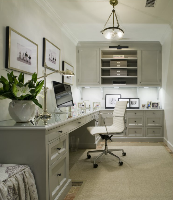 built in office desk transitional den library office For8x10 Office Design Ideas