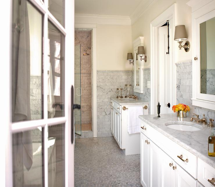 Bathroom mirrors restoration hardware - Carrara Marble Contemporary Bathroom Donald Lococo