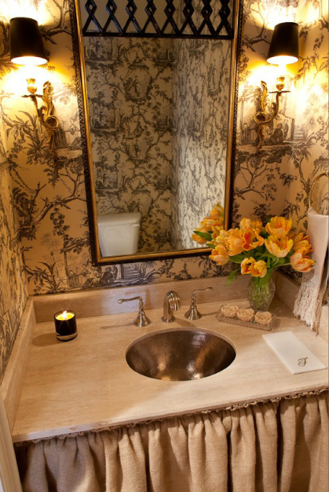 French Bathroom With Black And White Chinoiserie Toile Wallpaper And Burlap  Skirted Vanity With Round Hammered Metal Sink.