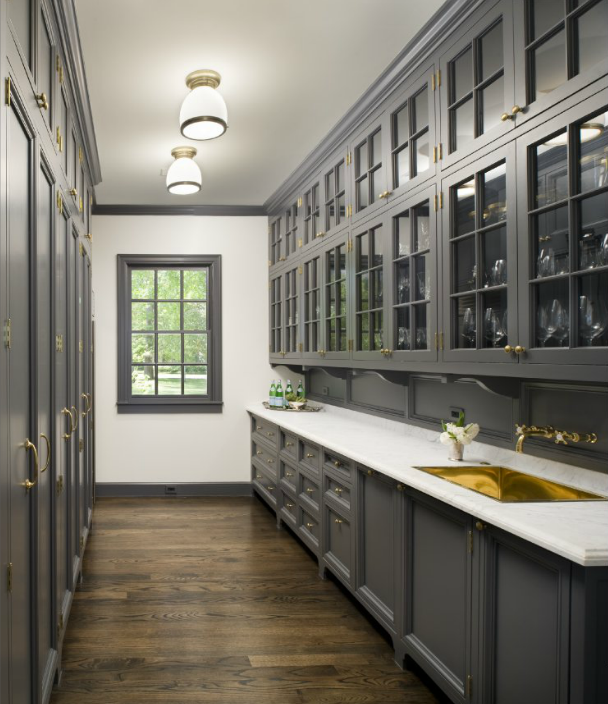 Floor To Ceiling Gray Pantry Cabinets Design Ideas