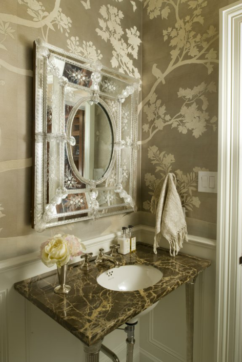Venetian mirror french bathroom munger interiors for A bathroom in french