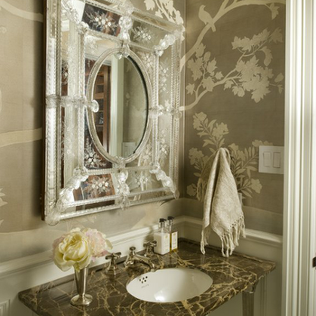 Venetian Mirror, French, bathroom, Munger Interiors