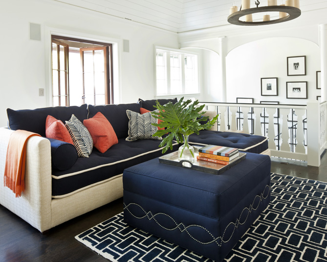 Navy Blue Ottoman Contemporary Living Room Phoebe Howard