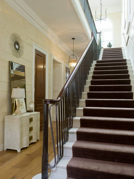 Chocolate Brown Stair Runner Cottage Entrance Foyer