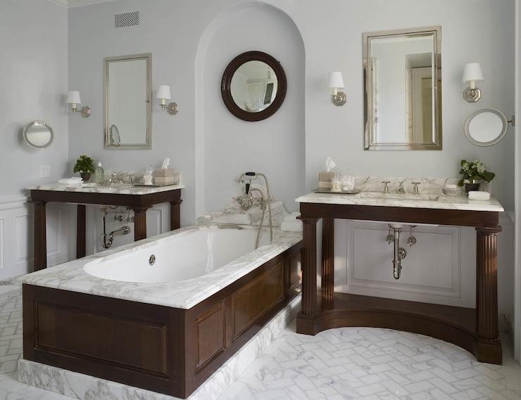 Marble Herringbone Floor Transitional Bathroom