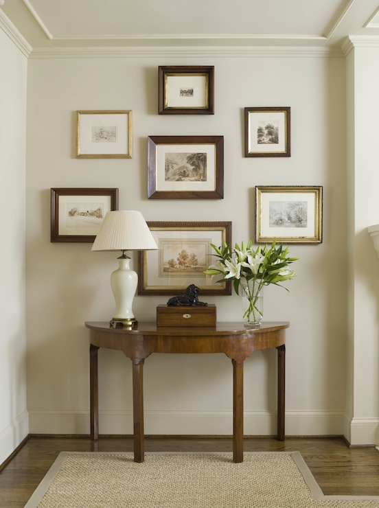Foyer Framed Art : Demilune console table traditional entrance foyer