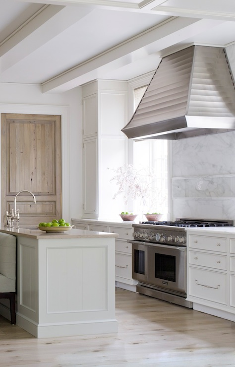 Limed oak door transitional kitchen phoebe howard for Bleached wood kitchen cabinets