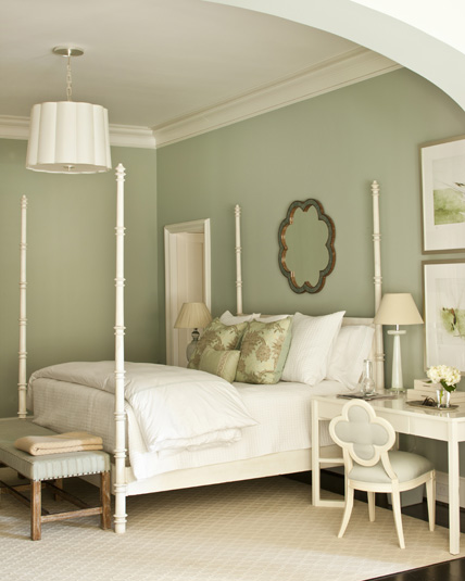 elegant sage green bedroom design with pale sage green walls paint color and dark hardwood floors - Green Bedroom Design
