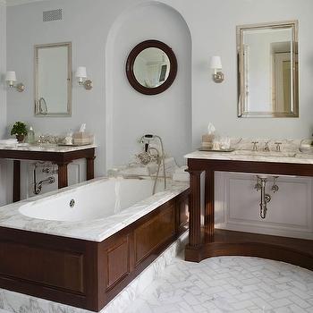 Marble Herringbone Floor, Transitional, bathroom, Phoebe Howard