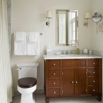 Pale Yellow Bathroom Mirror Design Ideas