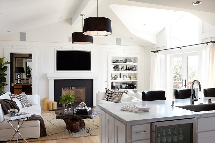 Built In Flatscreen Tv Contemporary Living Room