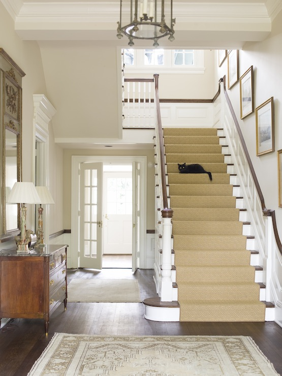 Staircase art gallery traditional entrance foyer for House plans with stairs in foyer