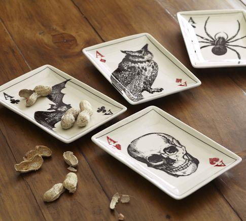 Ace Of Skulls Appetizer Plates Set Of 4 Pottery Barn