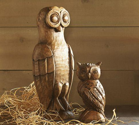 Carved Wood Owls Pottery Barn