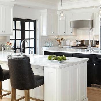 Black and White Kitchen, Contemporary, kitchen, Benjamin Moore Super White, Urrutia Design