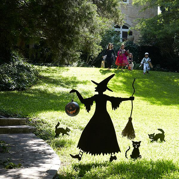 Witch silhouette for yard images for Christmas cat yard decorations