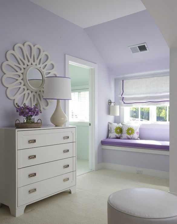 Built in window seat traditional girl 39 s room lynn - Lilac color paint bedroom ...