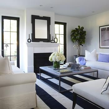 Contemporary White And Blue Living Room By Greg Natale