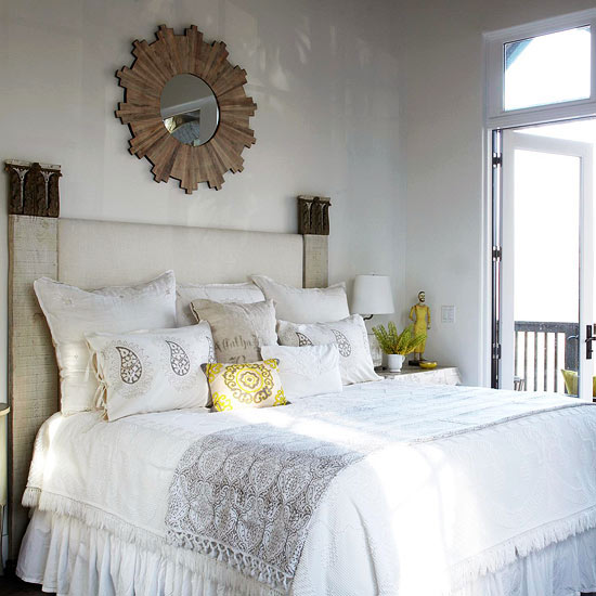 Wood Sunburst Mirror Cottage Bedroom BHG