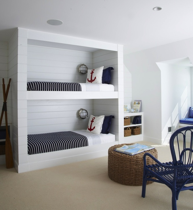 Nautical built in bunk beds cottage boy 39 s room lynn for Bedroom designs nz