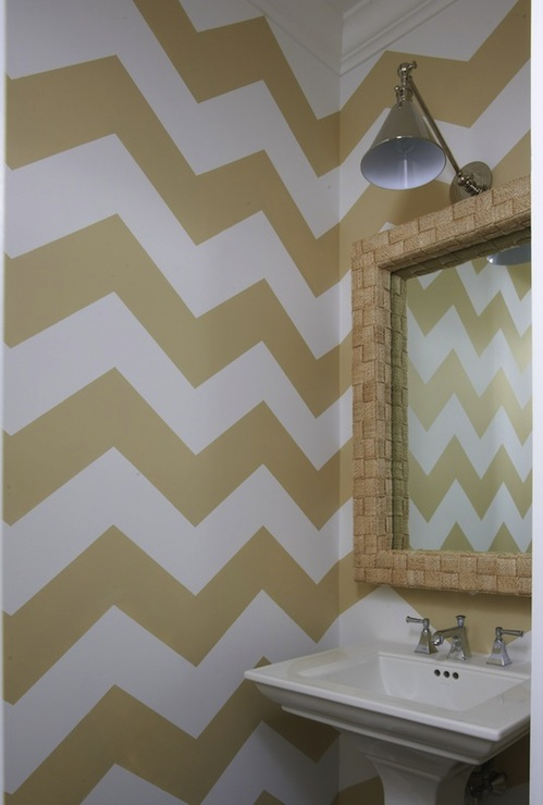 Gold Chevron Walls Contemporary Bathroom Lynn Morgan