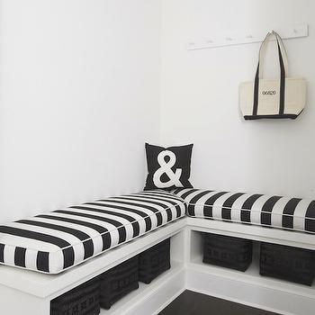 L Shaped Bench, Cottage, laundry room, Lynn Morgan Design
