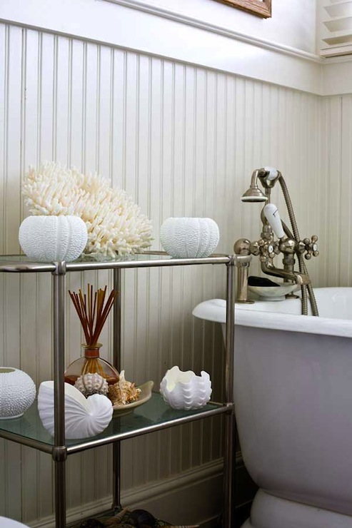 White Beadboard Bathroom View Full Size
