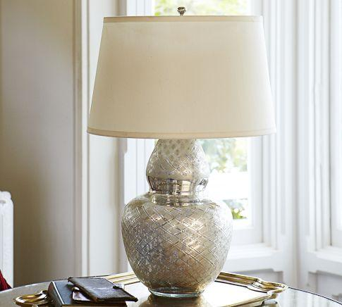 Avon Etched Mercury Glass Table Lamp Base   Pottery Barn