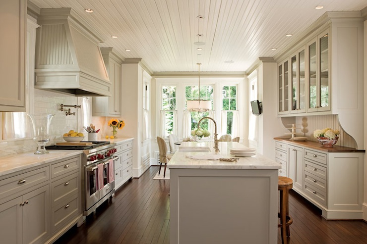 Beadboard kitchen ceiling transitional kitchen anne for Beadboard kitchen cabinets
