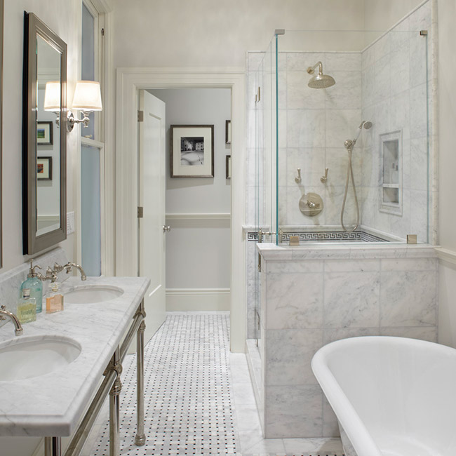 View Full Size Gorgeous Exceptional Master Bathroom With Marble Basketweave Tile Floor