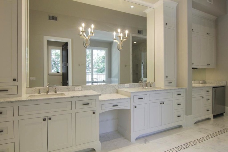 white cabinets transitional bathroom