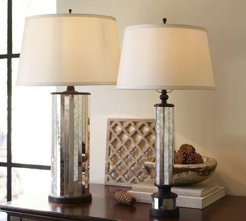 Parsons antiqued mirror table lamp base pottery barn aloadofball