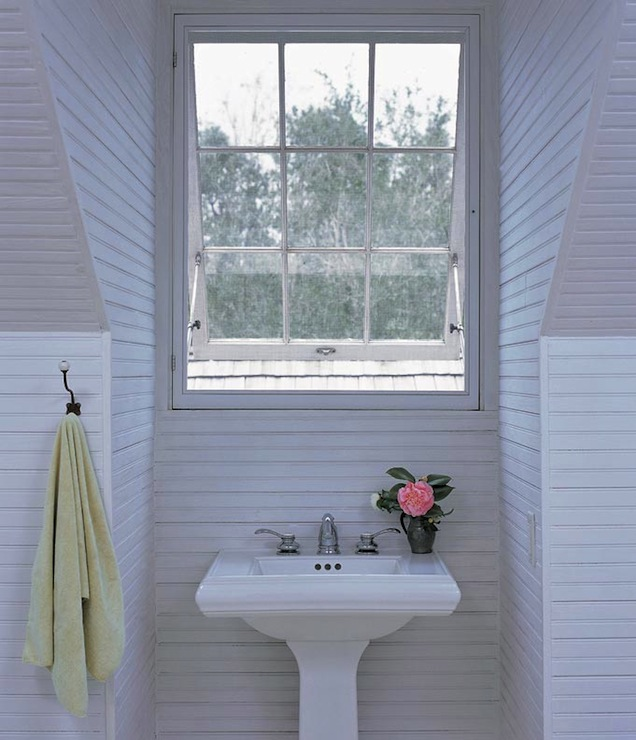 view full size coastal attic bathroom design with white beadboard