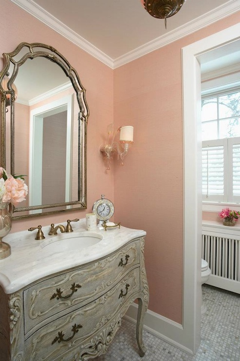 Pink and gray bathroom french bathroom rlh studio for Salmon bathroom ideas