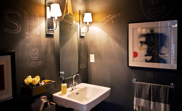 Chalkboard Bathroom Walls Contemporary Bathroom
