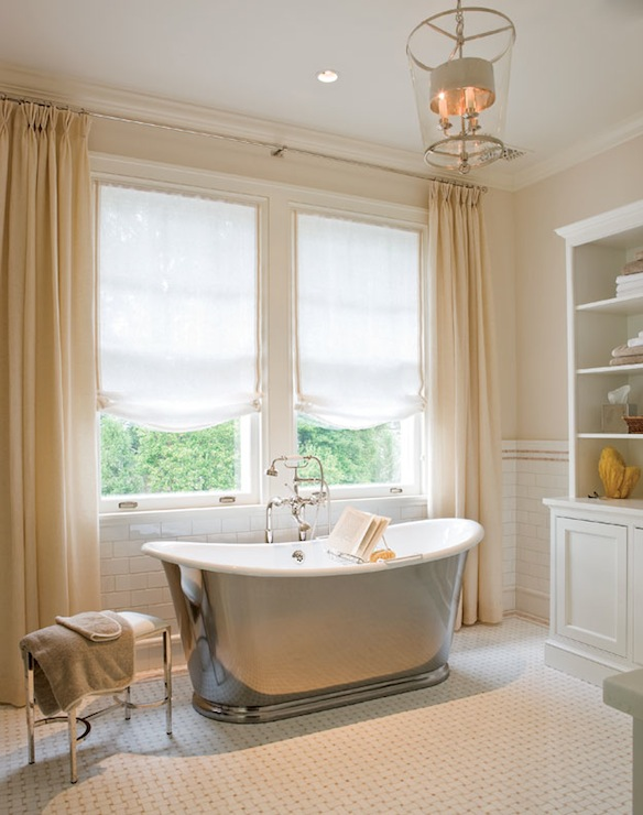 Ivory Curtains Traditional Bathroom Anne Decker